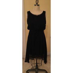 Black chiffon blouson dress with metallic chain